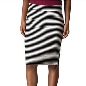 Toad & Co Striped Stretch Pencil Skirt Black White